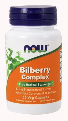 NOW Foods Bilberry Complex 80mg 50 Veggie Caps - AdvantageSupplements.com