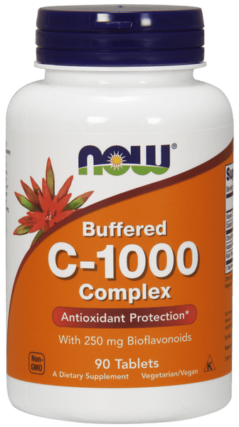 NOW Foods Buffered C-1000 Complex with 250mg Bioflavnoids 90tabs - AdvantageSupplements.com