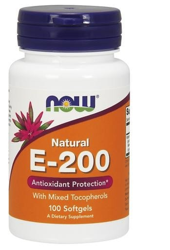 NOW Foods E-200 Natural with Mixed Tocopherols 100softgels - AdvantageSupplements.com