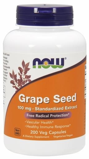 NOW Foods Grape Seed 100mg 200 Veggie Caps - AdvantageSupplements.com