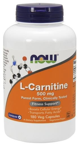 NOW Foods L-Carnitine 500mg 180 Veggie Caps - AdvantageSupplements.com