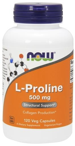 NOW Foods L-Proline 500mg 120 Veggie Caps - AdvantageSupplements.com