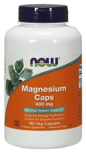 NOW Foods Magnesium 400mg 180 Veggie Caps