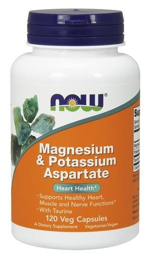 NOW Foods Magnesium & Potassium Aspartate 120 Veggie Caps - AdvantageSupplements.com