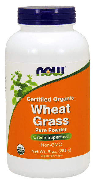 NOW Foods Certified Organic Wheat Grass Pure Powder 9oz (24 servings)