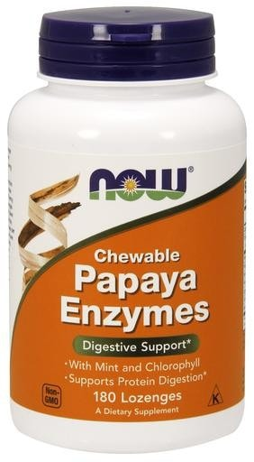 NOW Foods Papaya Enzymes Chewables 180 Lozenges - AdvantageSupplements.com