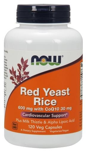 NOW Foods Red Yeast Rice 600mg with CoQ10 30mg 120 Veggie Caps