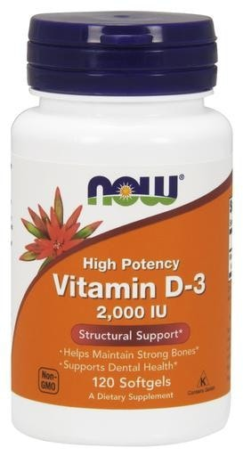 NOW Foods Vitamin D-3 High Potency 2000IU 120softgels - AdvantageSupplements.com