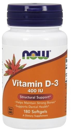 NOW Foods Vitamin D-3 400IU 180softgels - AdvantageSupplements.com