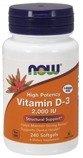 NOW Foods Vitamin D-3 2000IU 240 Softgels - AdvantageSupplements.com