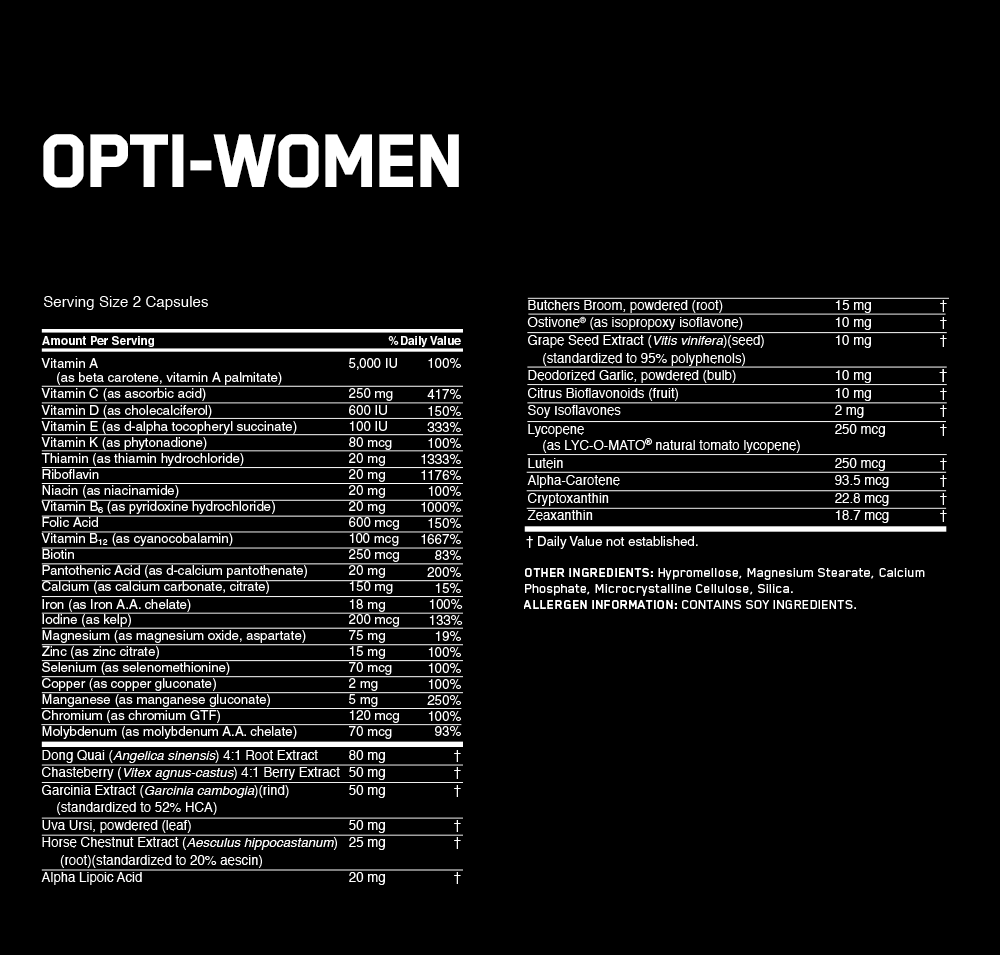 Optimum Nutrition Opti-Women Nutrition facts