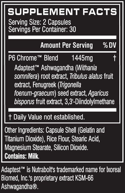 Cellucor P6 Chrome Nutrition facts