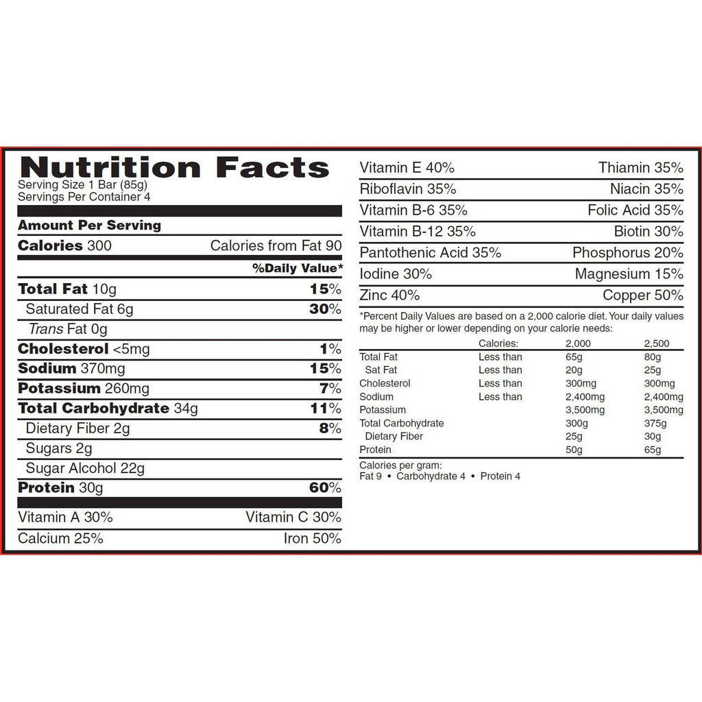 MET-Rx Protein Plus Bar Nutrition facts