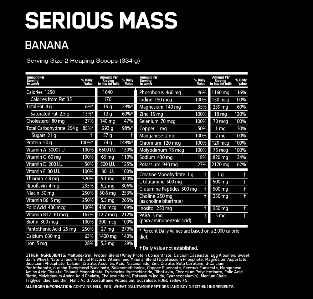 Optimum Nutrition Serious Mass Weight Gainer Nutrition facts