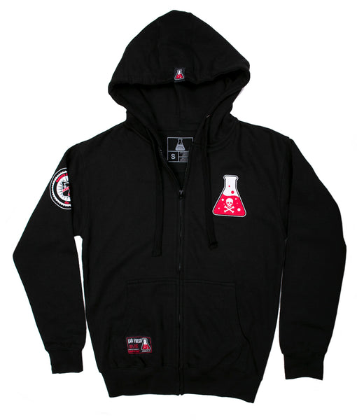 Skull & Bone Zip Up Fleece Hoodie (Black)