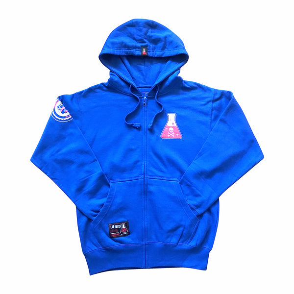 Skull & Bone Zip Up Fleece Hoodie (Royal Blue)