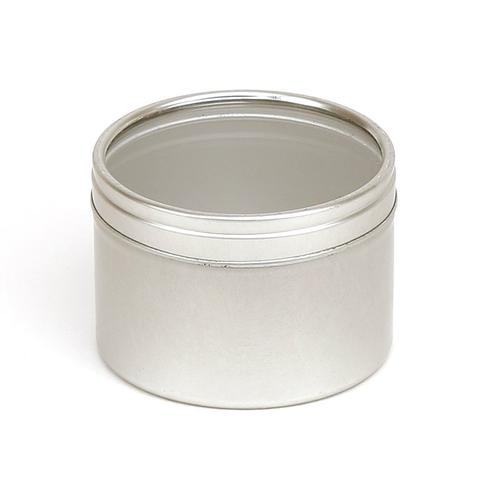 5cl Candle Tin - Silver - Clear Lid - Your Crafts
