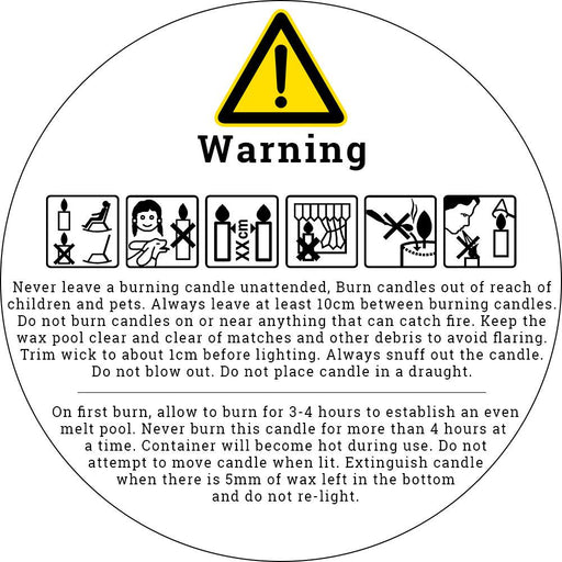 Candle Warning Label 50mm Round - Your Crafts