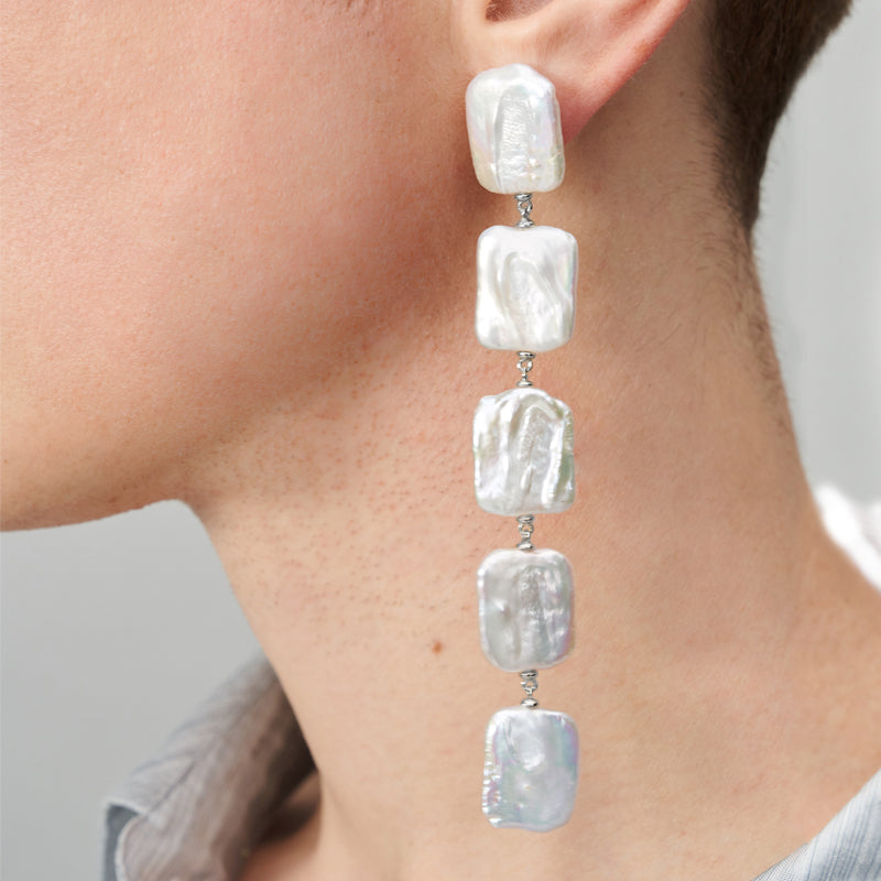 BAROQUE PEARL SILVER SQUARE SHAPE DROP EARRINGS