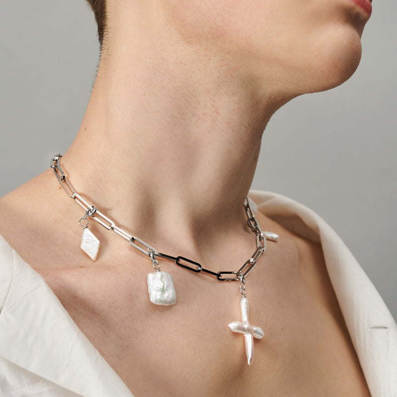 SILVER CHUNKY CHAIN NECKLACE WITH BAROQUE PEARL CHARMS II