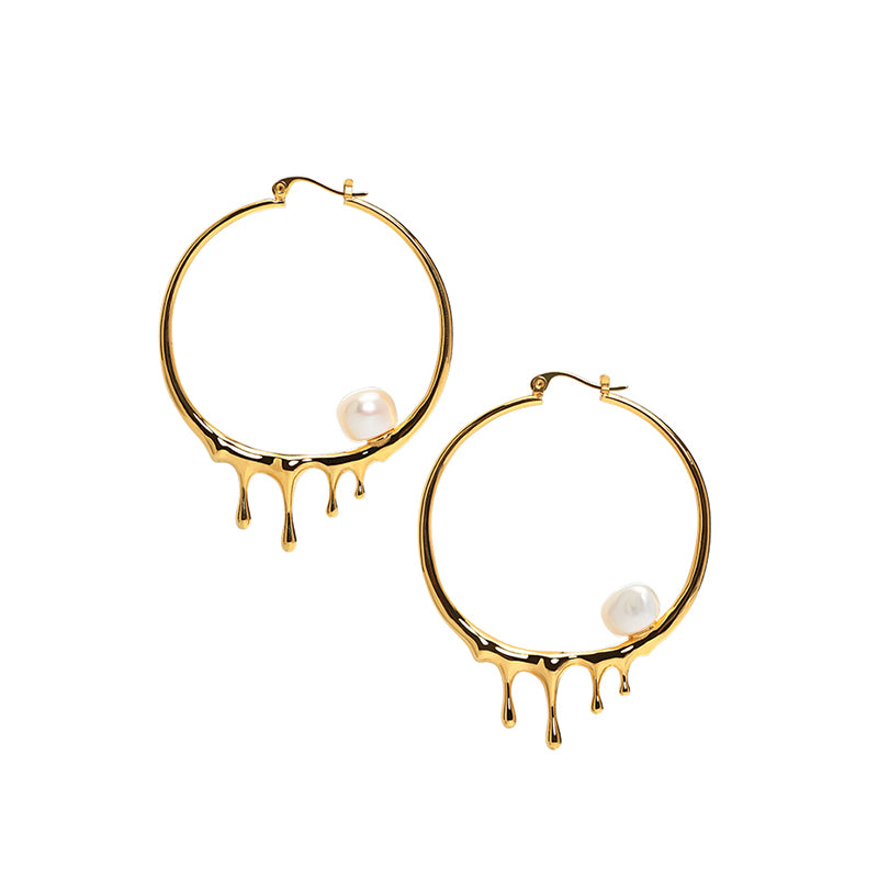 CULTURED BAROQUE PEARL DRIPPING GOLD HOOP EARRINGS