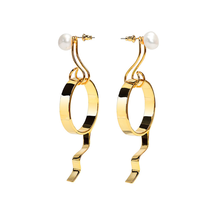 CULTURED BAROQUE PEARL GOLD TAPE EARRING