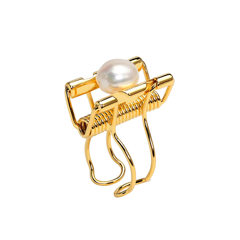 CULTURED BAROQUE PEARL GOLD BINDER CLIP OPEN RING