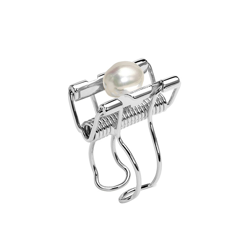 CULTURED BAROQUE PEARL SILVER BINDER CLIP OPEN RING
