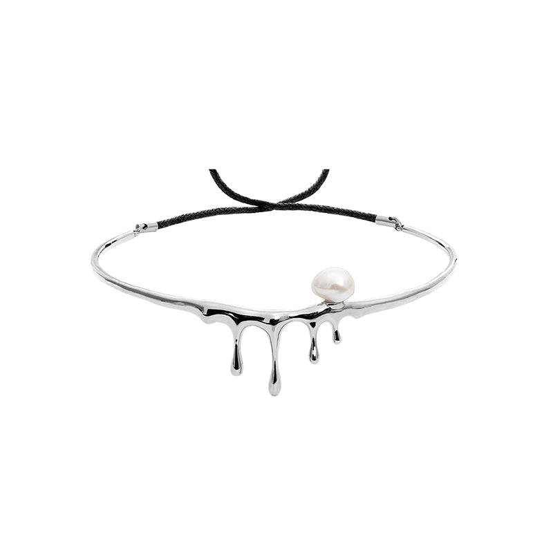 CULTURED BAROQUE PEARL DRIPPING SILVER CHOCKER