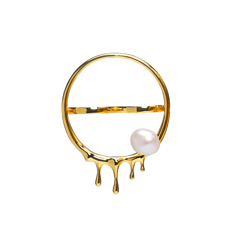 CULTURED BAROQUE PEARL DRIPPING GOLD HOOP DOUBLE FINGER RING