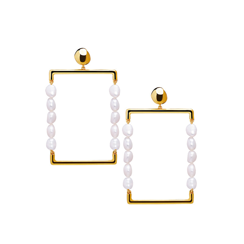 BAROQUE PEARL RECTANGLE GOLD HOOP EARRINGS