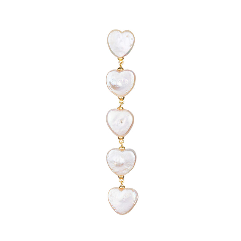BAROQUE PEARL GOLD HEART SHAPE DROP EARRINGS