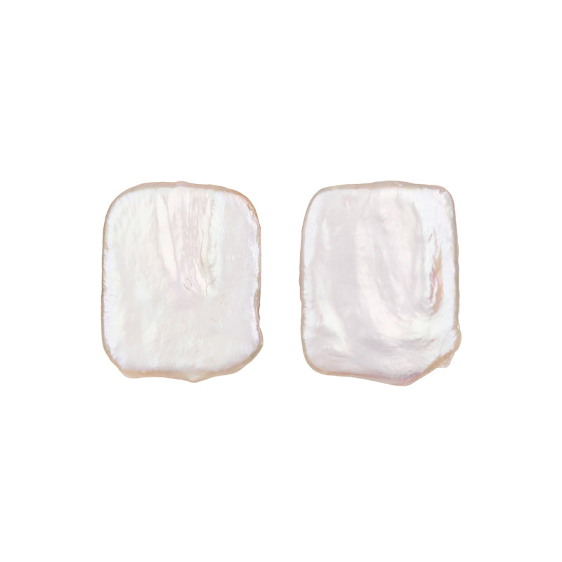 BAROQUE PEARL SQUARE SHAPE STUD EARRINGS