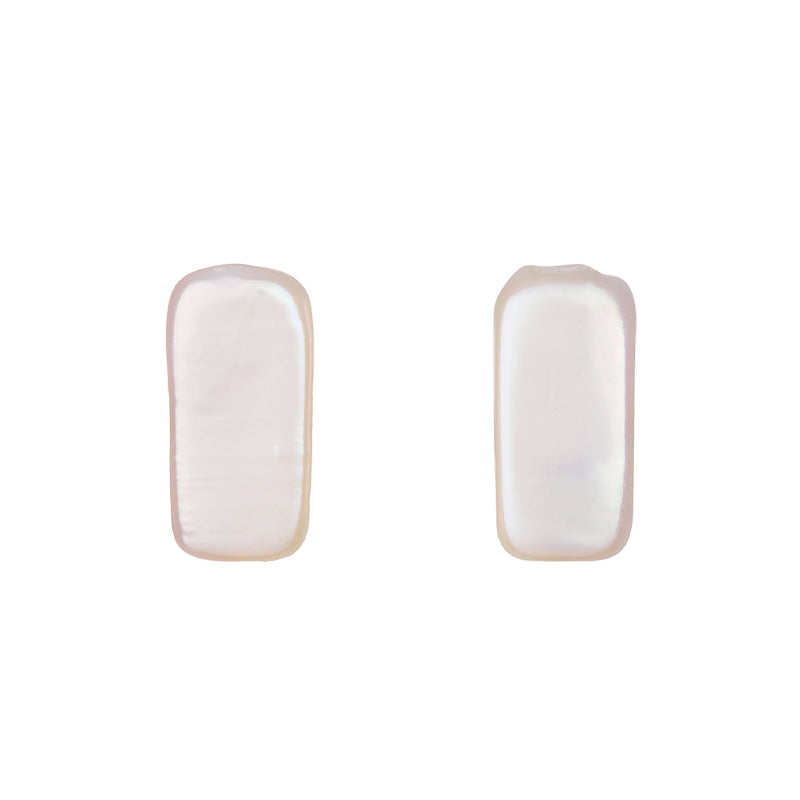 BAROQUE PEARL RECTANGLE SHAPE STUD EARRINGS