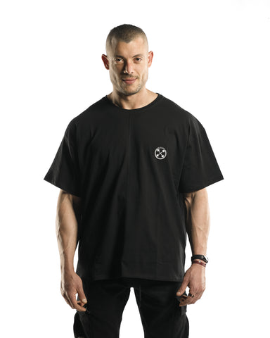 Oversized Bar-Basic T-Shirt [Black]