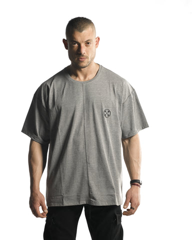 Oversized Bar-Basic T-Shirt [Heather Grey]