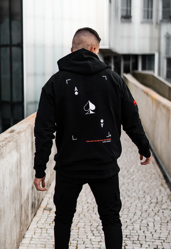 Essential Oversized Hoodie [ Ace of Spades ] Black