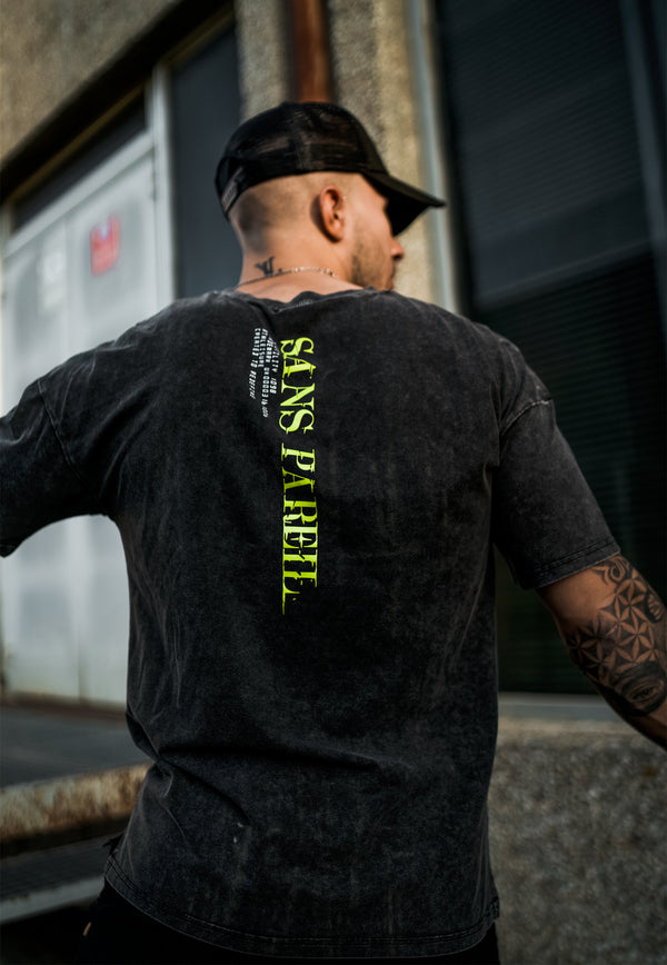Utility Drop Shoulder Tee [ Acid wash / Neon ] - Sans Pareil Clothing