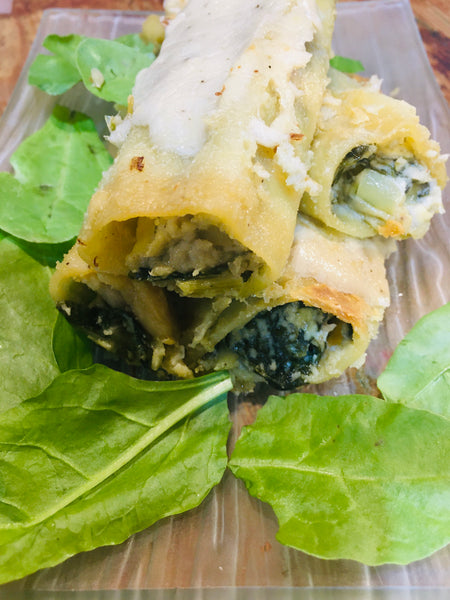 Vegan Cannelloni with Spinach and Leeks