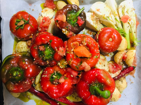 Gemista, Greek stuffed peppers and  tomatoes