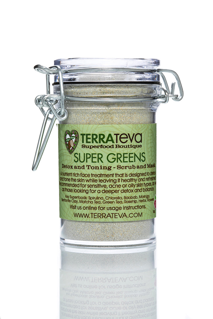 SUPER GREENS Detoxifying Toning Mask and Scrub -Oily, Acne Sensitive, Mature Skin Types