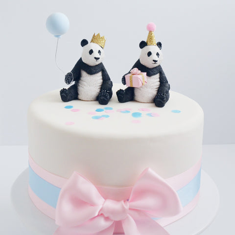 Panda Animal Cake Topper with Party Hat