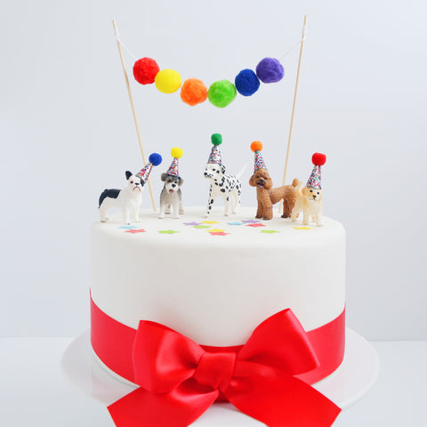Dog Cake Topper with Party Hat