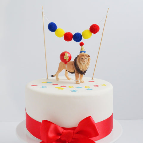 Safari Lion Animal Cake Topper with Party Hat