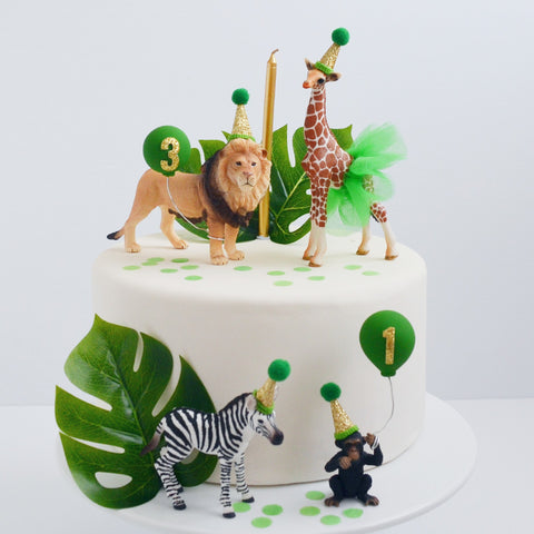 Safari Animal Cake Topper with Party Hats