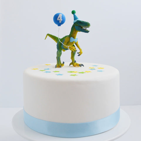 Dinosaur Cake Topper with Party Hat