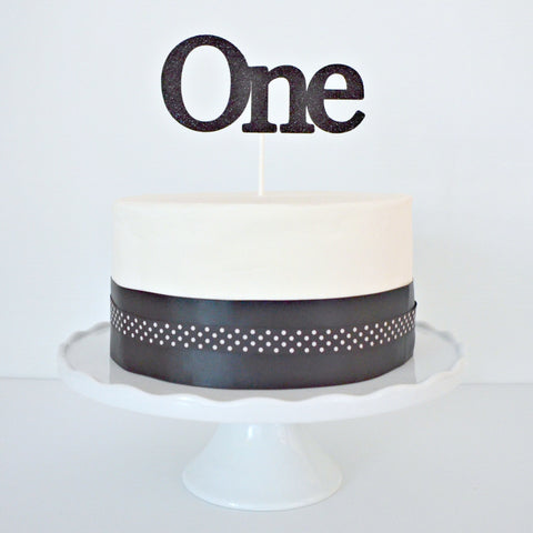 Black Glitter 'One' 1st Birthday Cake Topper