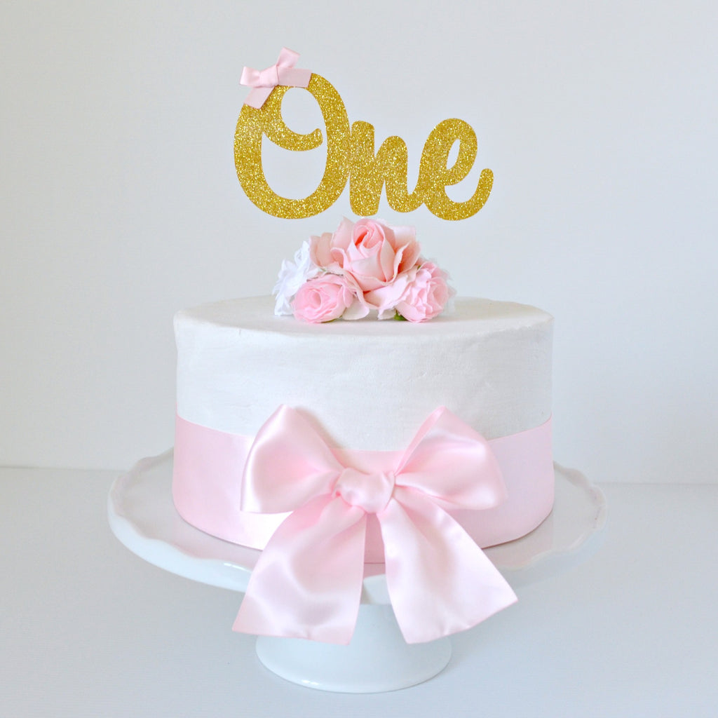 Prime 1St Birthday Cake Topper Gold Glitter One With Pink Bow Little Personalised Birthday Cards Arneslily Jamesorg