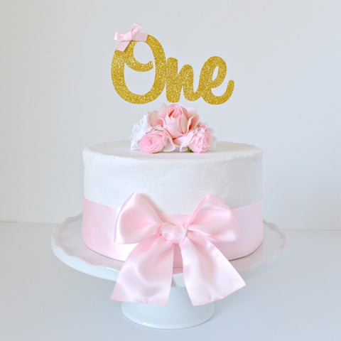 Gold Glitter 'One' 1st First Birthday Cake Topper with Pink Bow