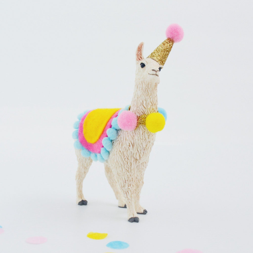 llama cake topper with party hat